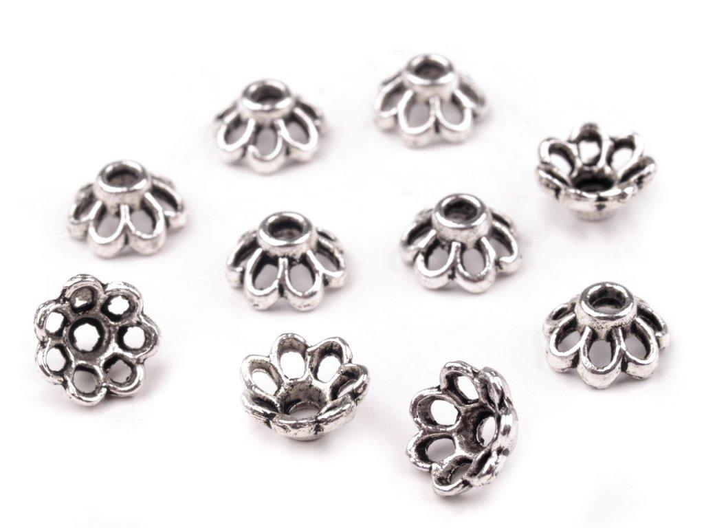 Kaplík kovový 4x7mm květinka 230546 - platina