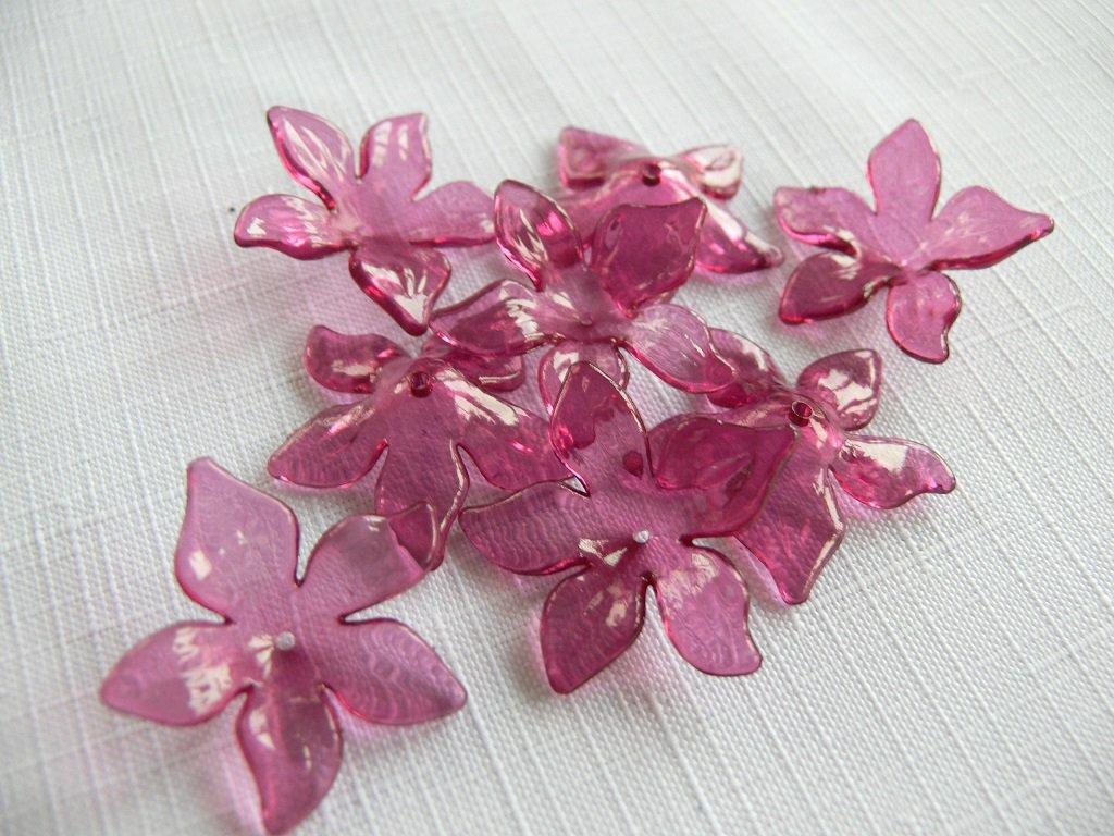 Květ plast 29 mm TRANSPARENT 200430 - 12 vínová fuchsie