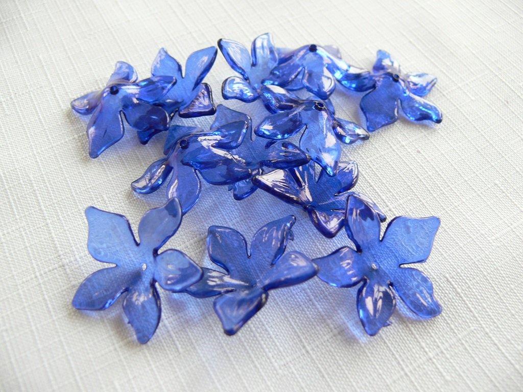 Květ plast 29mm TRANSPARENT 200430 - modrá kobaltová 9