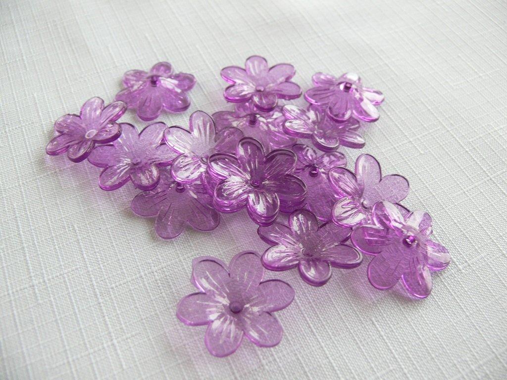 Květ plast 26mm TRANSPARENT 200431- 9 fialová gerbera