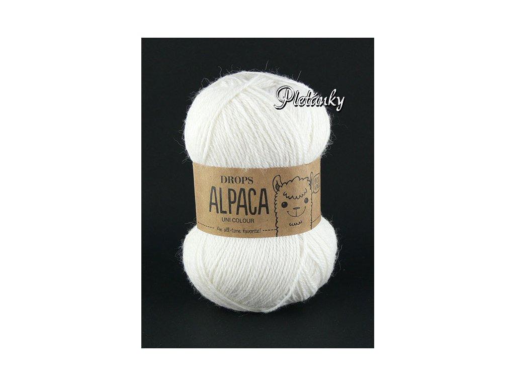 Příze DROPS Alpaca uni colour 1101 - bílá