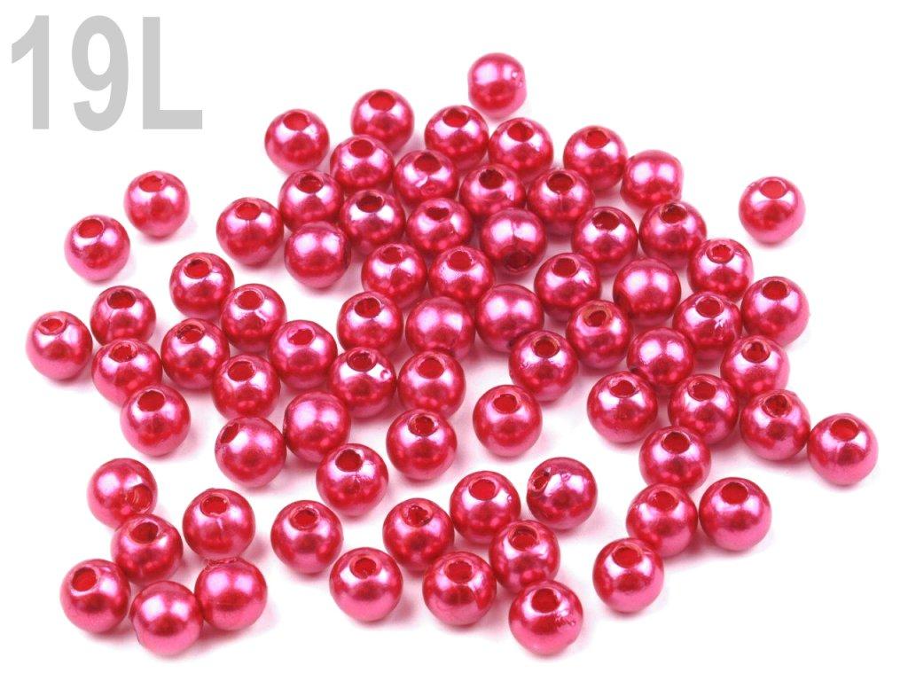 Korálky GLANCE plast kulička 4mm voskované, 5g, cyklámen