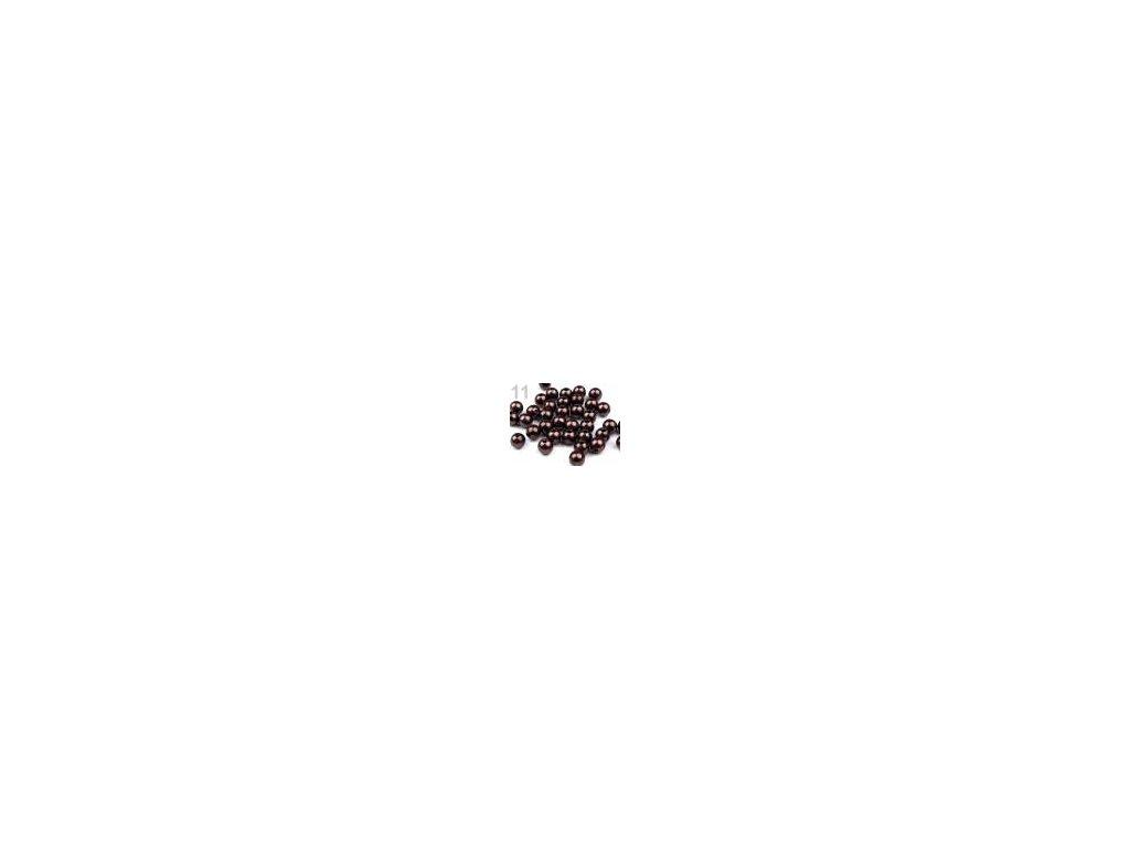 Korálky GLANCE plast kulička 8mm voskované, 5g, hnědá kávová