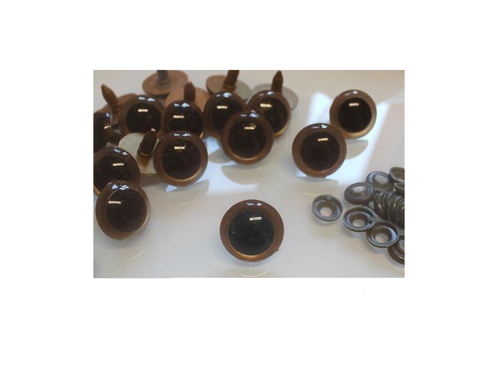 Oči napichovací bezpečnostní plastové 14 mm - hnědé