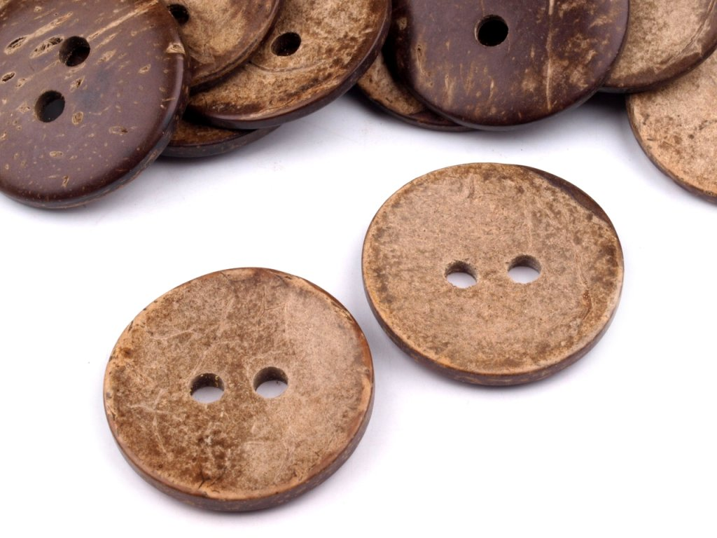Knoflík kokosový  (30 mm) oboustranný - přírodní