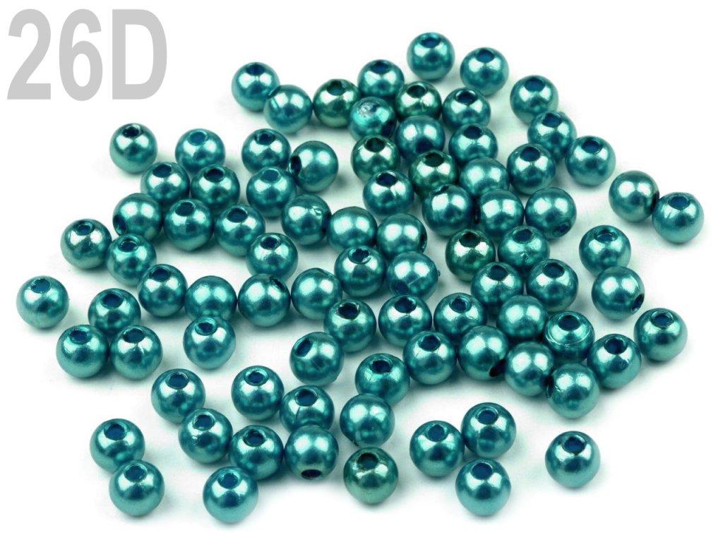 Korálky GLANCE plast kulička 4mm voskované, 5g, modrá kachní, 200527,26D