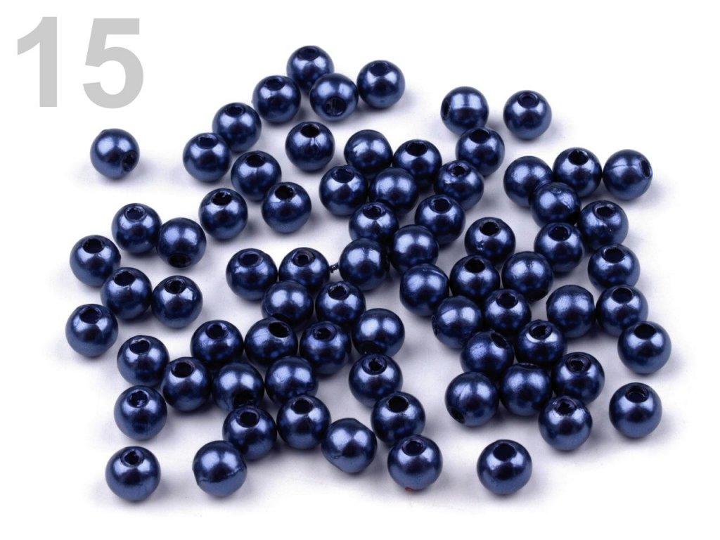 Korálky GLANCE plast kulička 4mm voskované, 5g, modrá pařížská , 200527, 15