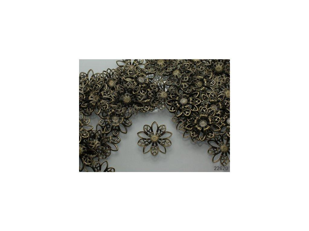 Filigránový květ  19/2 mm 22620 - bronz