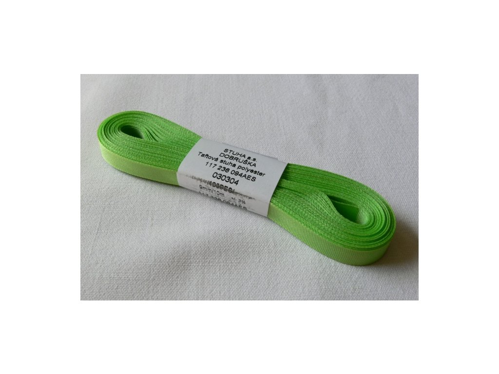 Stuha taftová 6 mm , zelenožlutá - 304