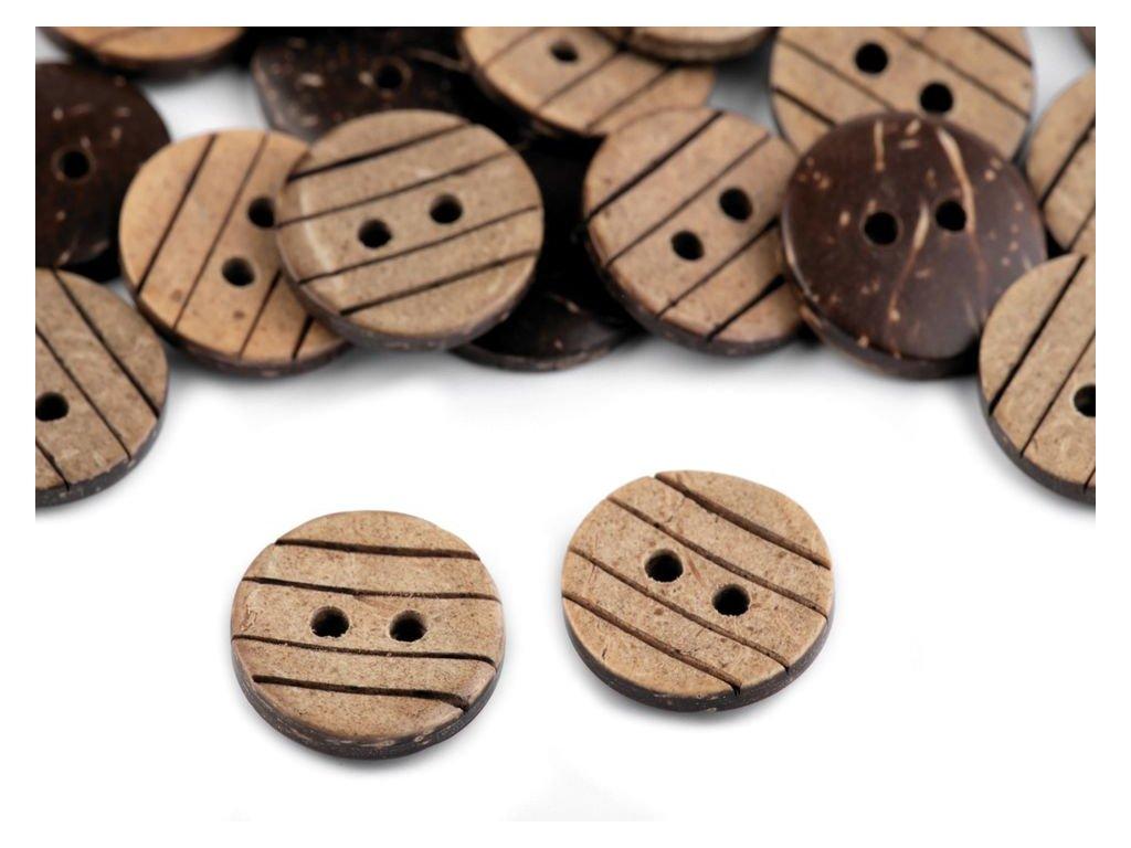 """Knoflík kokosový 24"""" (15 mm) 120336 - proužkovaný"""