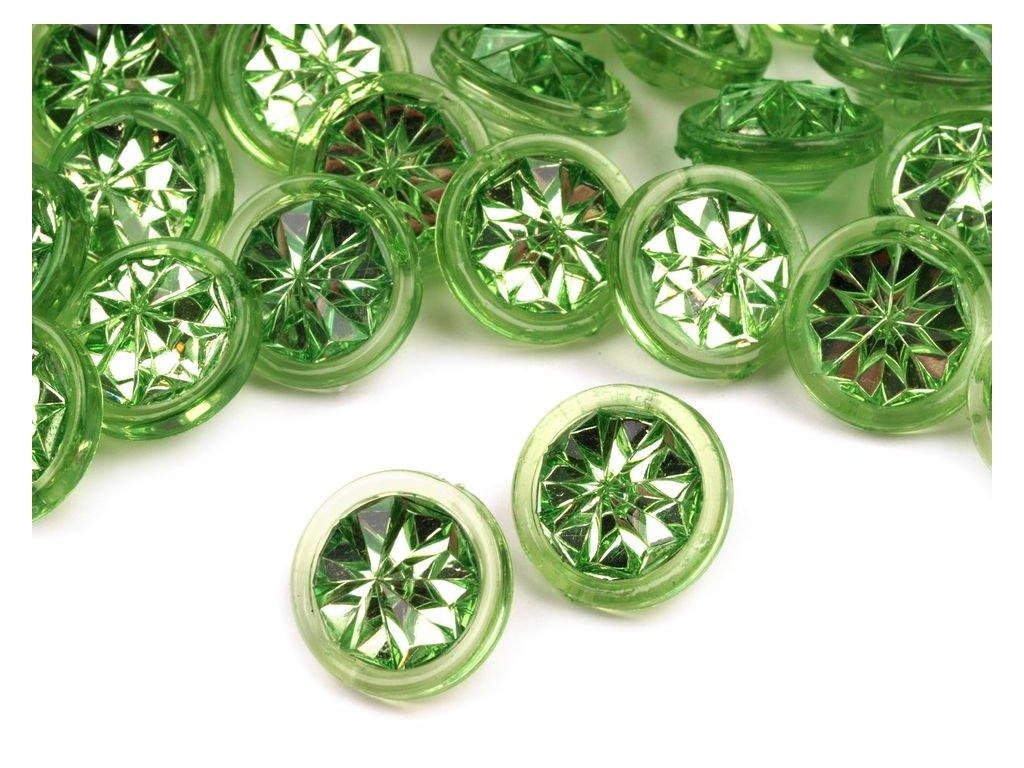 """Knoflík plastový 20"""" (13 mm) Crystal 120244 - 4 zelená stepní"""