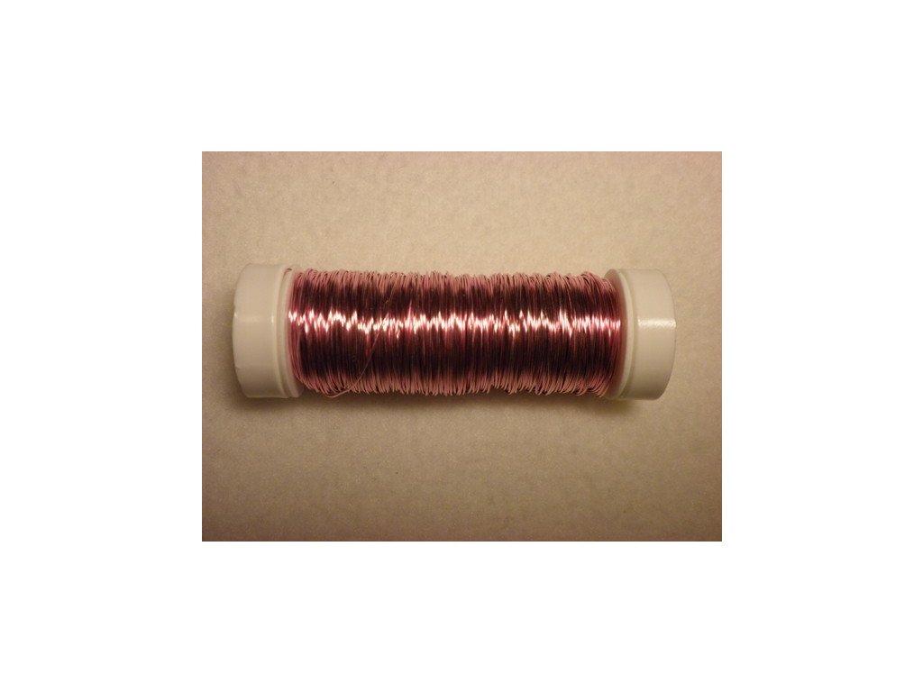 Barevný drátek 0,3mm (metráž), světle růžová