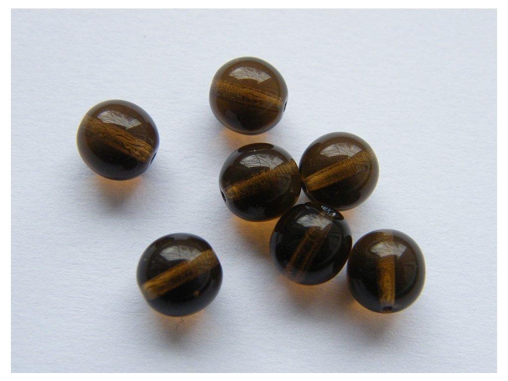 Korálky mačkané kulaté 8mm, 10230 - tmavý topaz