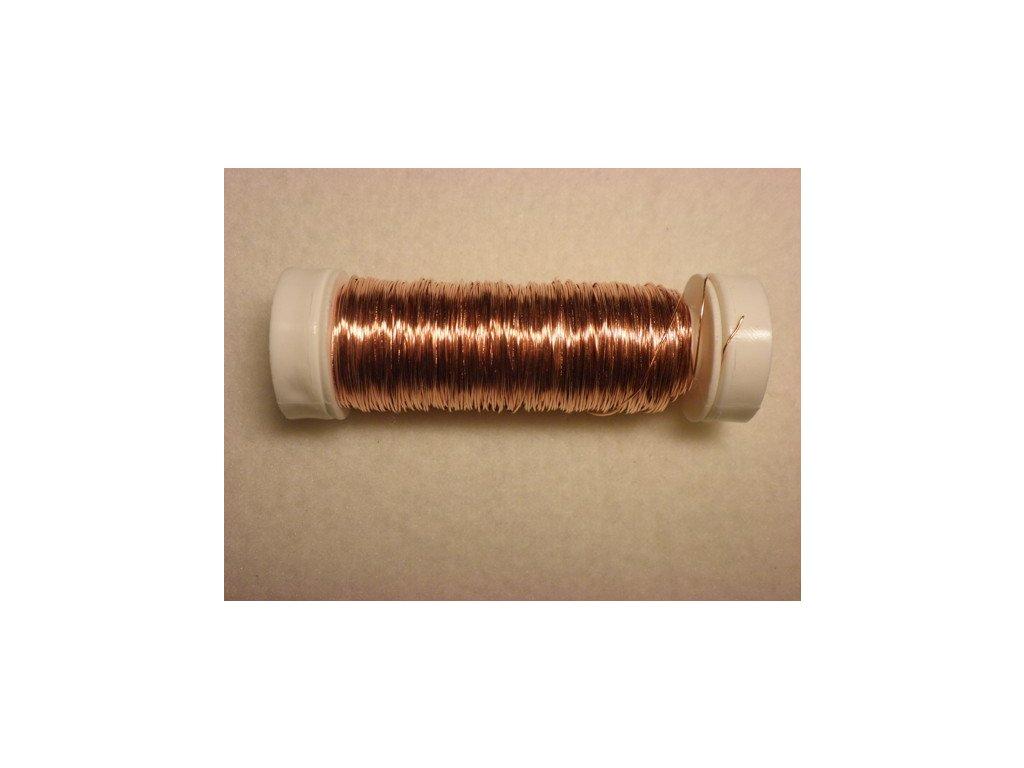 Barevný drátek 0,3mm (metráž), světle oranžová