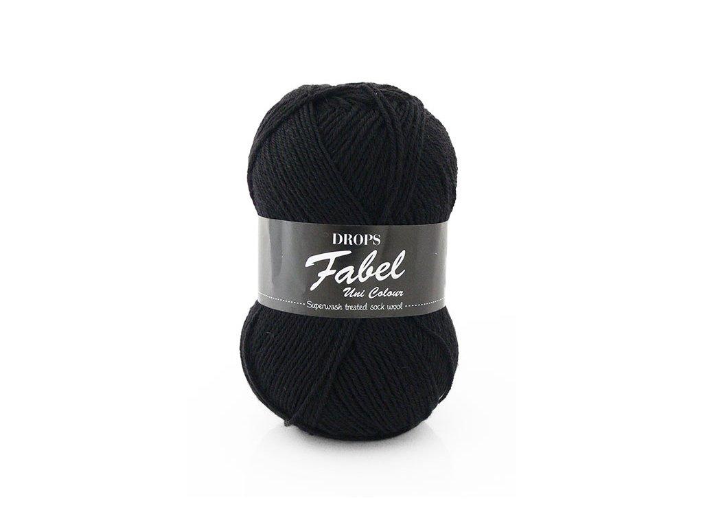 Příze DROPS Fabel Unicolor 400 - černá