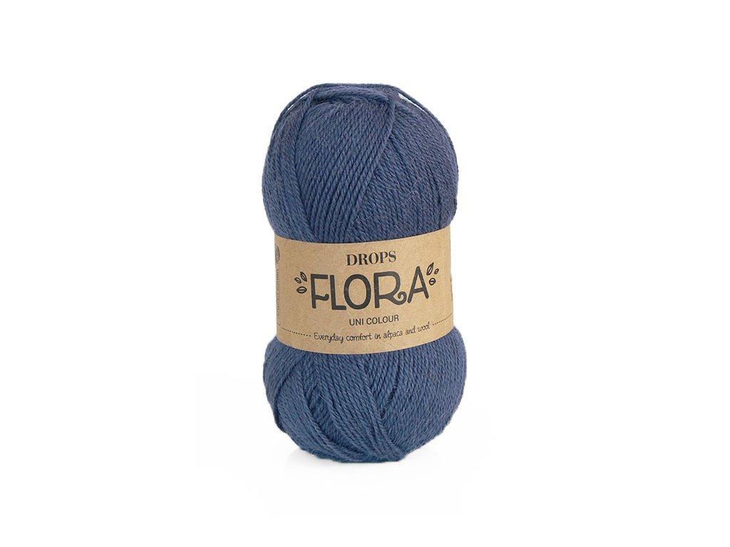 Příze DROPS Flora uni colour 10 - tmavá modrá