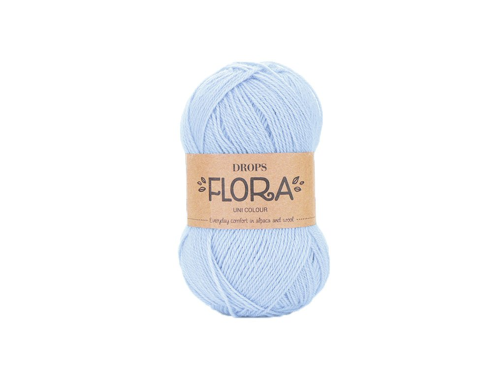 Příze DROPS Flora uni colour 14 - ledově modrá