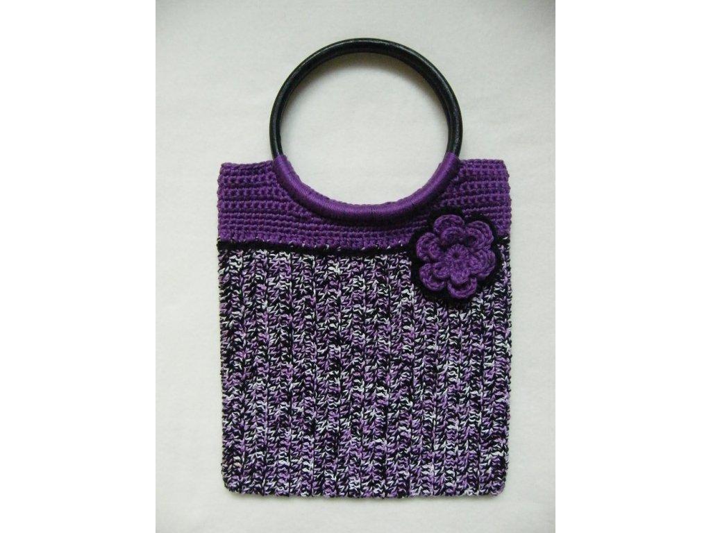 Háčkovaná kabelka s bambusovými uchy, fialková, 5384