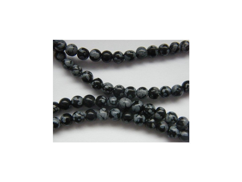 Obsidián vločkový, kulička 4mm