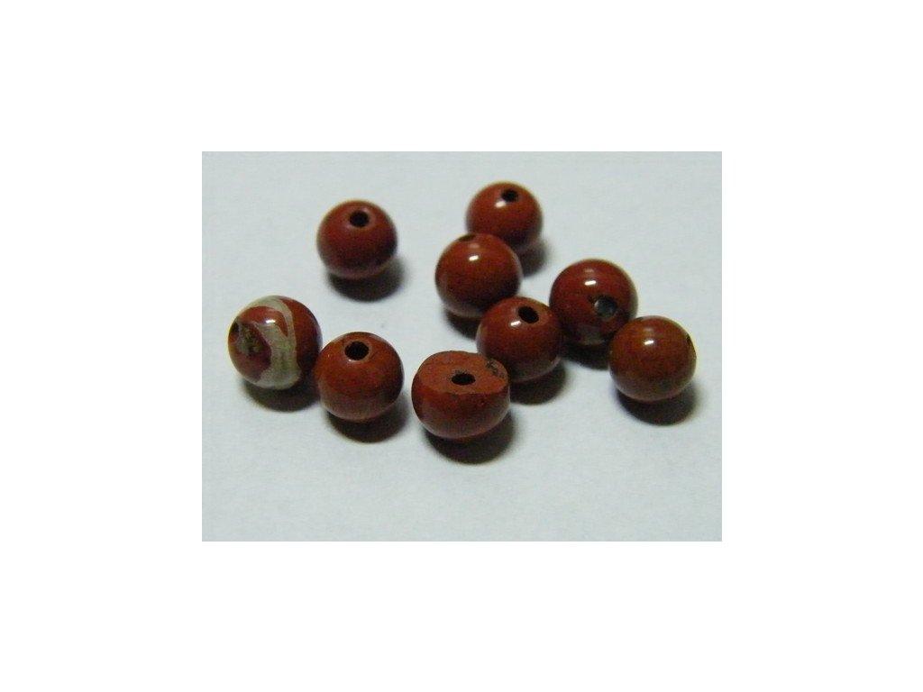 Jaspis červený, kulička 4mm