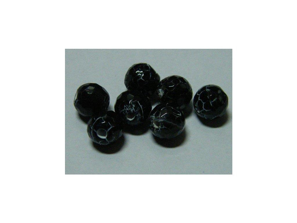 Achát černý, kulička fazetovaná 8mm