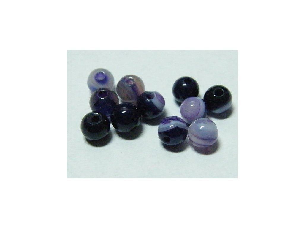 Achát fialový páskovaný, kulička 4mm