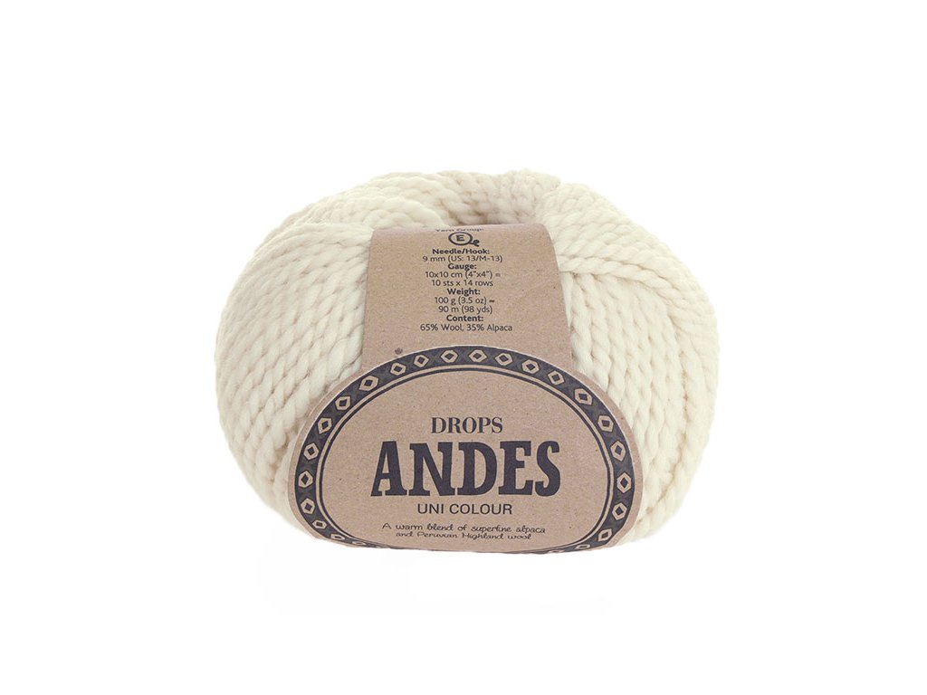 Příze Drops Andes uni colour 0100 - smetanová
