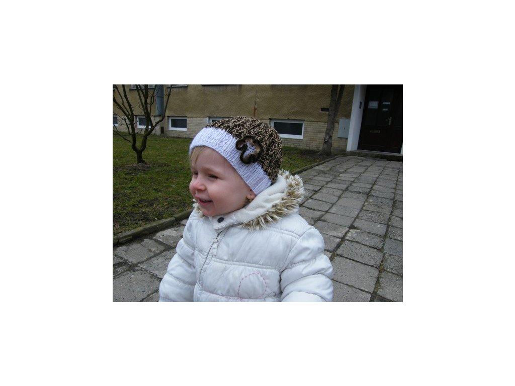 Dětská jarní/podzimní čepička, bílo-béžovo-hnědá, 654
