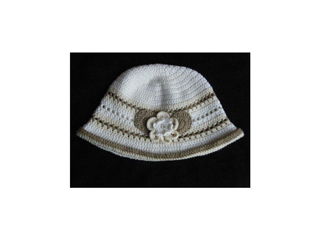 Dívčí klobouček béžovo-hnědo-bílý, 662