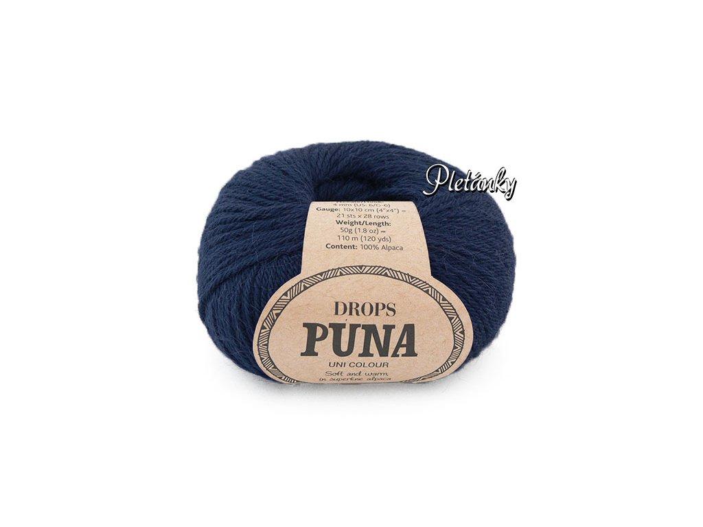 Příze DROPS Puna uni colour 13 - tmavá modrá
