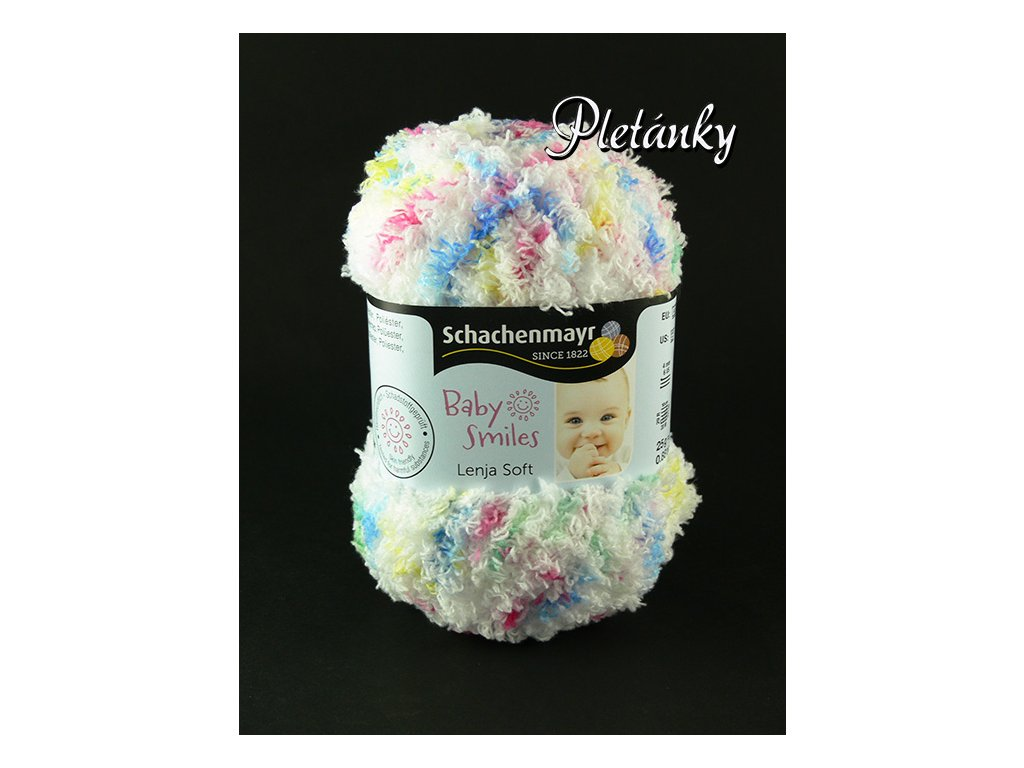 Příze Baby Smiles Lenja Soft 00080 - bílá, žlutá, modrá, sytá růžová, zelená