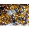 Mix korálků různých velikostí a tvarů, 50g, zlatá, hnědá, topaz