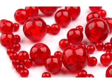 Korálky praskané mix velikostí 6-18mm, 50g, červená