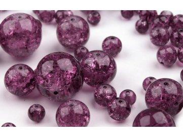 Korálky praskané mix velikostí 6-18mm, 50g, fialová