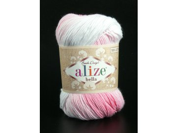 Příze Bella Batik 2126 - bílá s odstíny růžové
