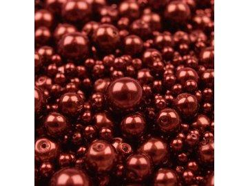 Voskované korálky náhodný mix velikostí 4-12mm, 50g, bordó