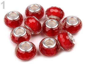 Plastové broušené korálky s velkým průvlekem 9x14 mm 200607 - 1 červená jahoda