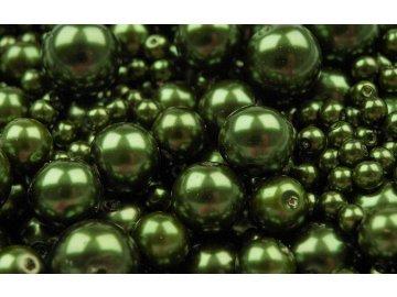 Voskované korálky mix velikostí 4-12mm, 50g, olivová