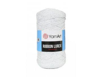 Příze Ribbon Lurex 720 - bílá se stříbrnou nitkou