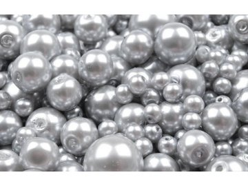 Voskované korálky mix velikostí 4-12mm, 50g, šedo-stříbrná
