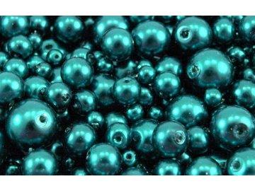 Voskované korálky mix velikostí 4-12mm, 50g, tyrkysová