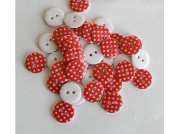 Knoflík 15 mm Puntíky - červený