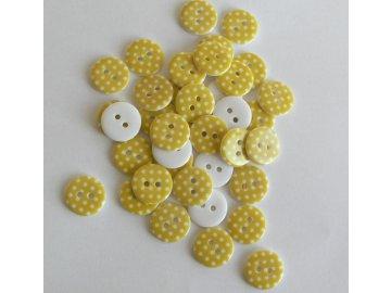 Knoflík 15 mm Puntíky - žlutý