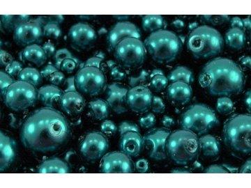 Voskované korálky mix velikostí 4-12mm, 50g, petrolejová