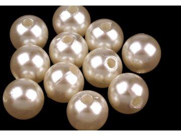 Korálky GLANCE plastové 10mm, 10g, perlová