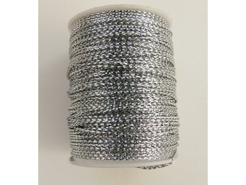 Šňůra s lurexem 1mm návin 8-10m, stříbrná