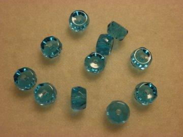 Broušené rondelky 6x3mm, aquamarine