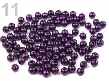 Korálky GLANCE plast kulička  4mm voskované, 5g, fialová - 11