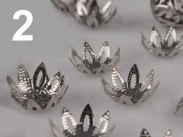 Bižuterní kaplík 14 mm, okvětní lístky,  130478 - 2 platina