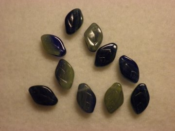 Ploché listy 8x12mm, capri blue, lime